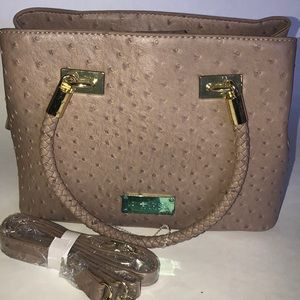 bebe Ostrich Satchel Taupe